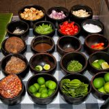 Cooking class, a table with different spices in bowls. Indonesia Bali food.